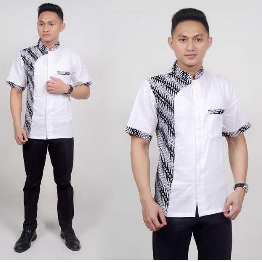 Model Baju Batik Pria Lengan Pendek Kombinasi Polos Terbaru 2019