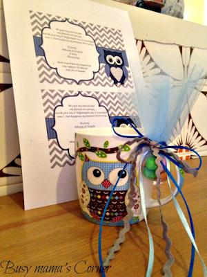 owl boy baptism favor & invitation