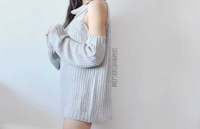 a1eee1f930 A cozy fall/winter outfit featuring SheIn's oversized cold shoulder cutout gray  turtleneck sweater dress