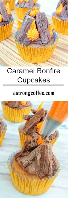 These easy to make caramel bonfire cupcakes are fantastic fun for a bonfire or fireworks party