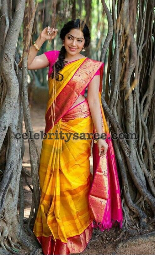 Ramya Subramaniyan Yellow Silk Saree