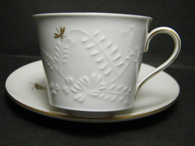 德國皇瓷 KPM 浮雕花卉 手繪昆蟲杯組   瓷尚之閣