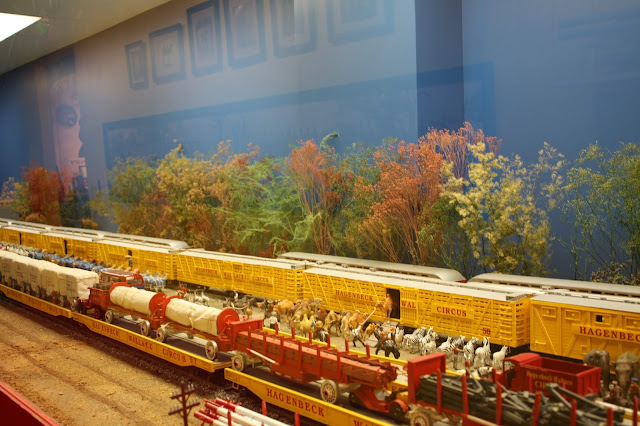 Trains in the circus diorama at French Lick West Baden Museum