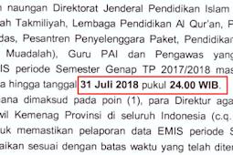 31 Juli 2018 Batas Akhir Emis Madrasah 2017/2018