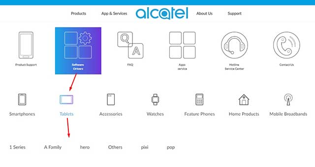 Descarga de controladores Tablet Alcatel