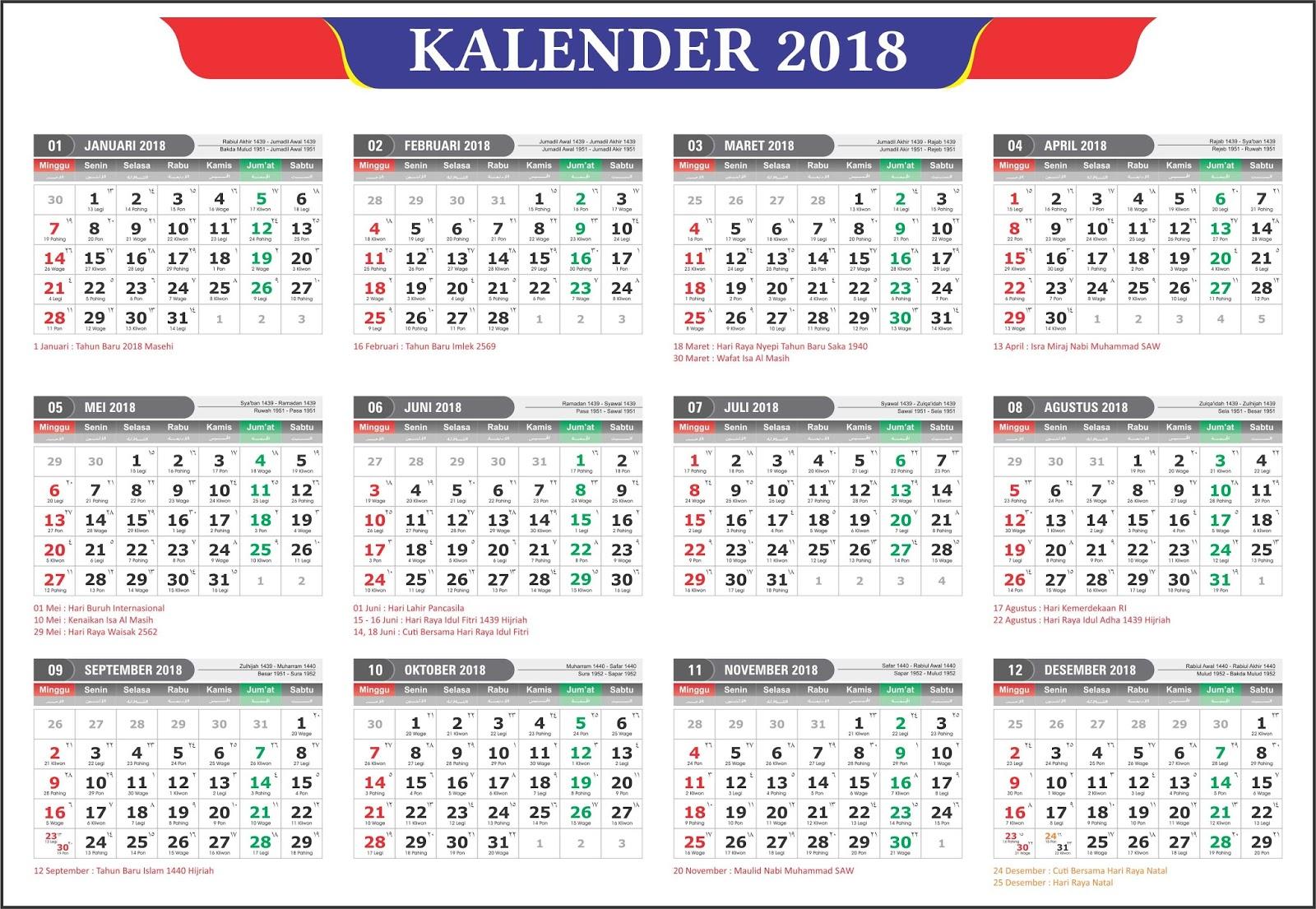 Download Kalender 2020 Masehi 1441 Hijriyah Corel Gratis