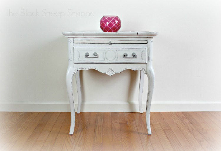 After: Queen Anne Style Side Table Painted In Linen White.