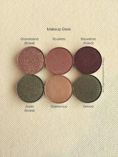 Makeup Geek eyeshadows grandstand, roulette, showtime, jester, glamorous, venom