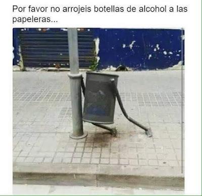 Por favor, no arrojéis botellas de alcohol a las papeleras