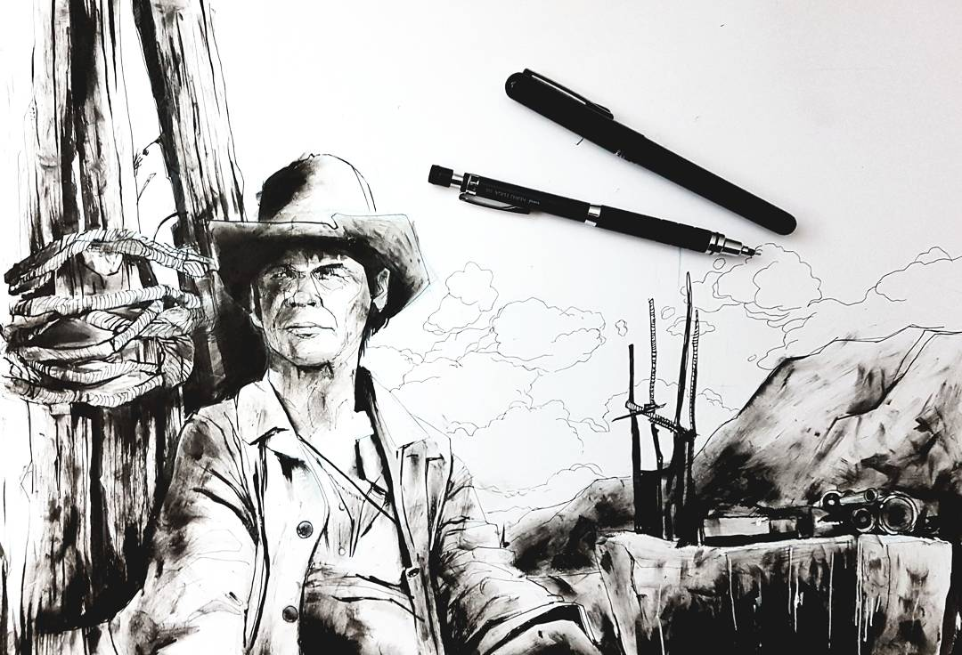 Drawing Sergio Leone Charles Bronson Once Upon a Time in the West