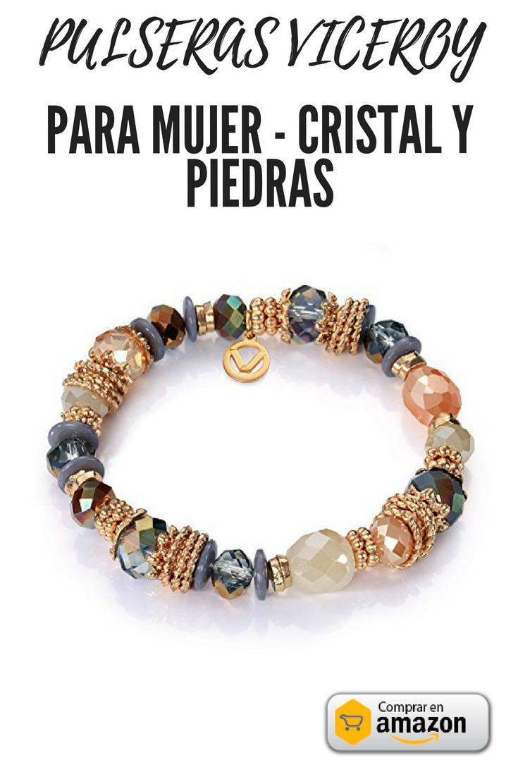 Hermosa pulsera de cristal y piedras