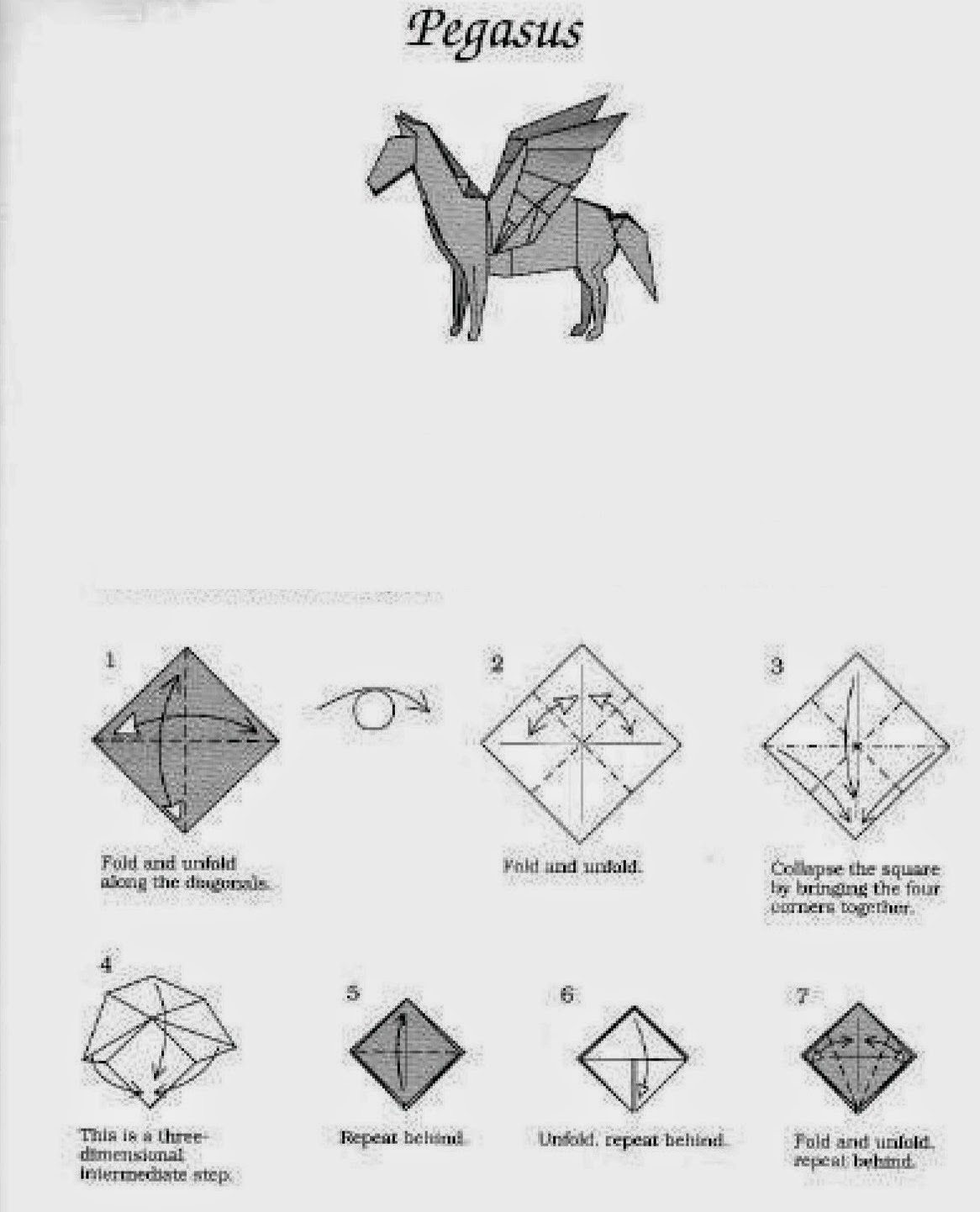 Make Origami Pegasus Origami Instructions Art And Craft