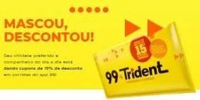 Promoção Trident Mascou Descontou - Ganhe 15% Desconto no APP 99