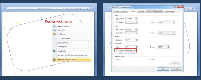 """Grafik mit 2 Screenshots aus Word: links Rechtsklickmenü, rechts Fenster """"AutoForm formatieren"""""""