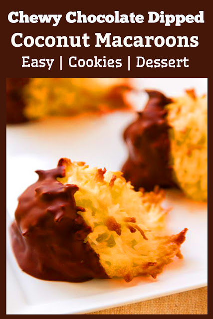 These Chewy Chocolate Dipped Coconut Macaroons are simple to make and easy to transport, these are the ultimate cookies to bring to any potluck. Definitely one of my favorite cookies! #cookies #desserts #chocolate #snacks #easyrecipe #partyfood #dessertrecipes