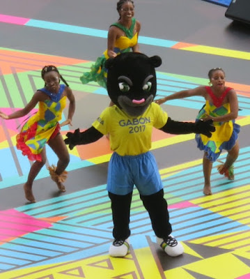 Gabon mascot & dancing girls.