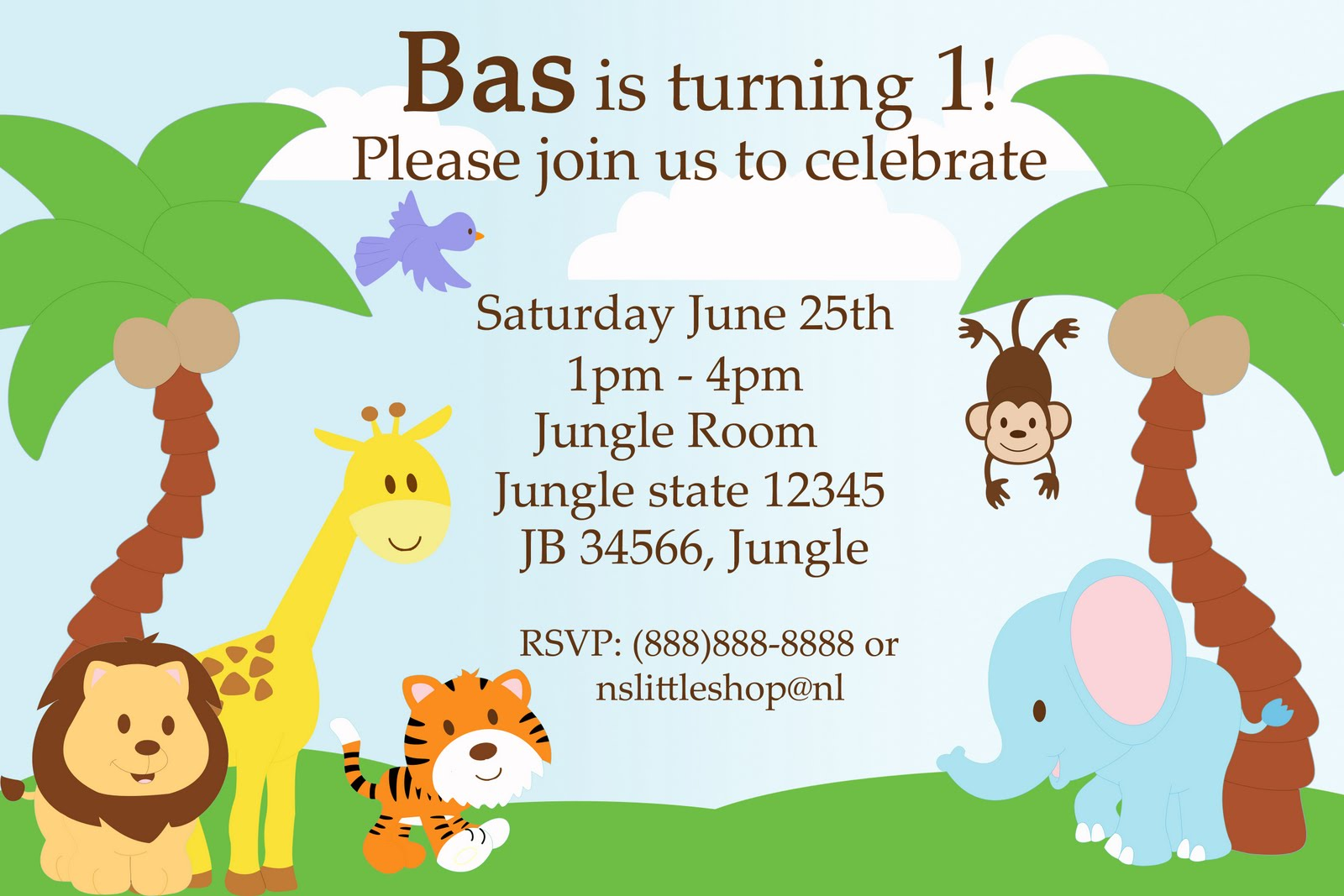 nslittleshop party decorations and more  jungle birthday invitation