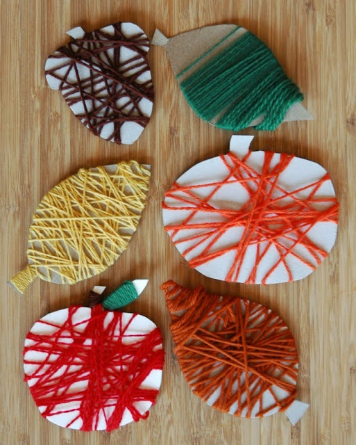 Fine Motor Fall Yarn Wrapping Craft