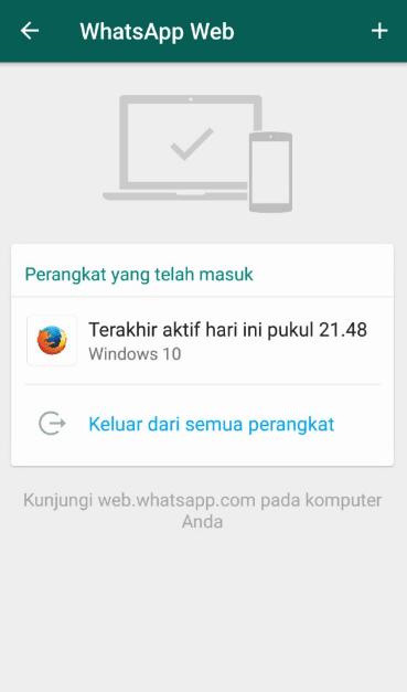 Cara keluar WhatsApp web