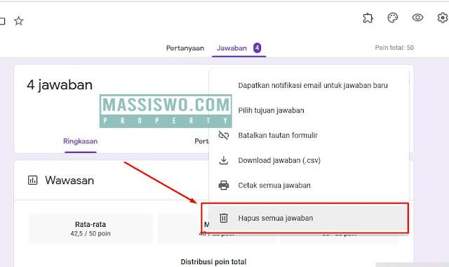 Pilih menu hapus jawaban google form