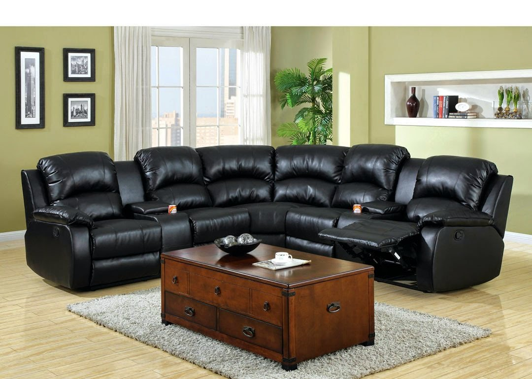 Small Reclining Leather Sectional with center drink consoles & Reclining Sofas For Sale Cheap: April 2015 islam-shia.org