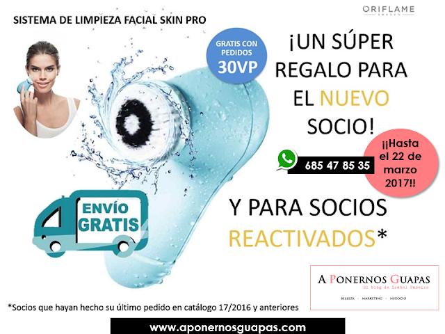 Cepillo limpiador facial Skin Pro gratis Oriflame A Ponernos Guapas