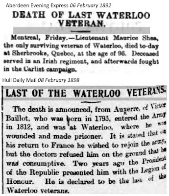 Deaths of the last Waterloo veterans