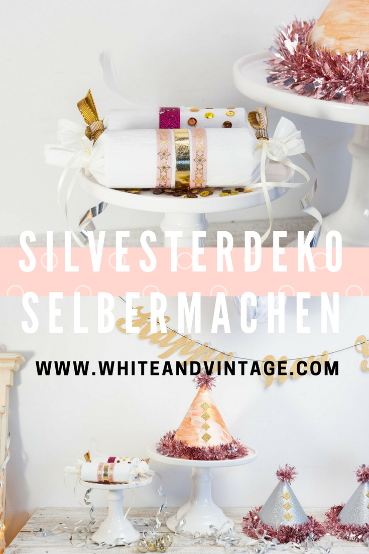 Silvesterdeko selber machen - Partyhut & Knallbonbons - White and ...