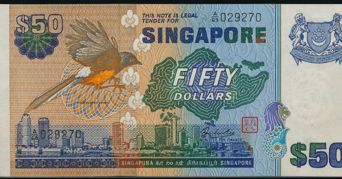 Singapore 50 Dollars Banknote Bird Series World Banknotes Amp Coins Pictures Old Money Foreign