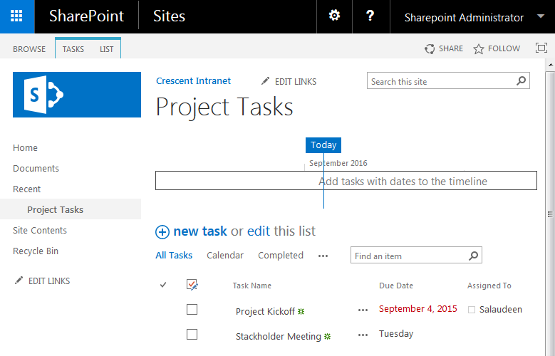 sharepoint task list hide timeline