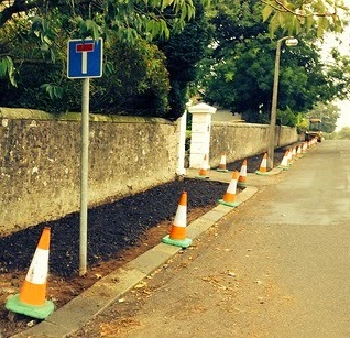Pavement resurfacing in Broughty Ferry prior to adoption by the Council