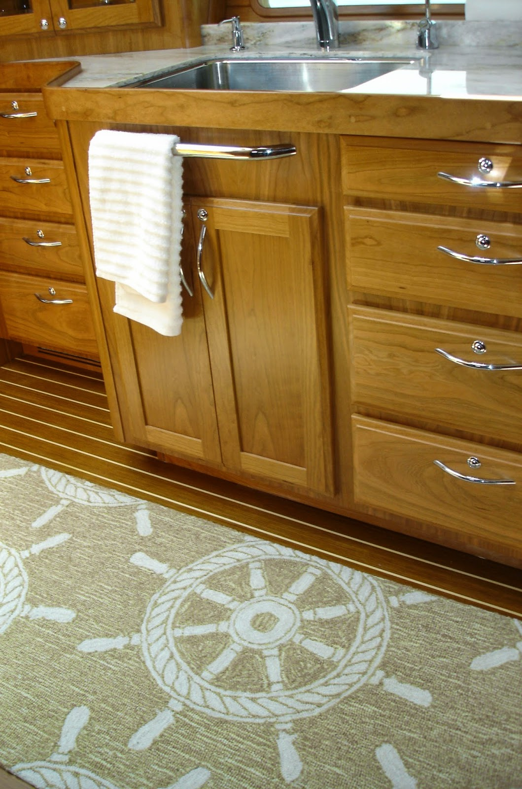 Outing A Yacht Galley With Nautical Rugs