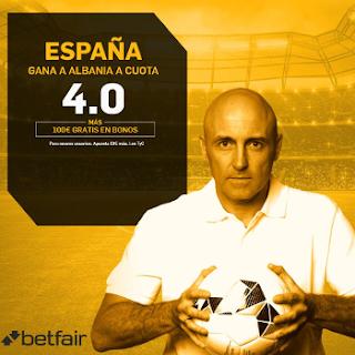betfair supercuota España gana Albania 6 octubre