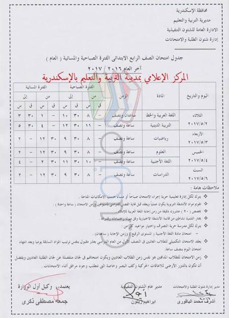 جدول امتحانات الصف الرابع الابتدائي 2017 الترم الثاني محافظة الاسكندرية
