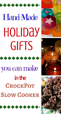 unique and fun gifts you can make in your own home kitchen using the crockpot slow cooker. Candles, glycerin soap, playdough, peanut clusters, cinnamon almonds and more!