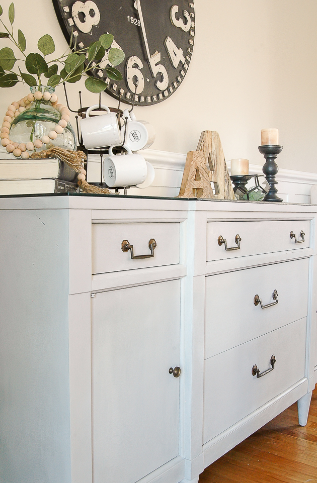 Painted vintage server, modern farmhouse dining room