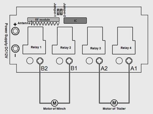 2 Channel 12VDC Motor Remote Control Trailer & Winch
