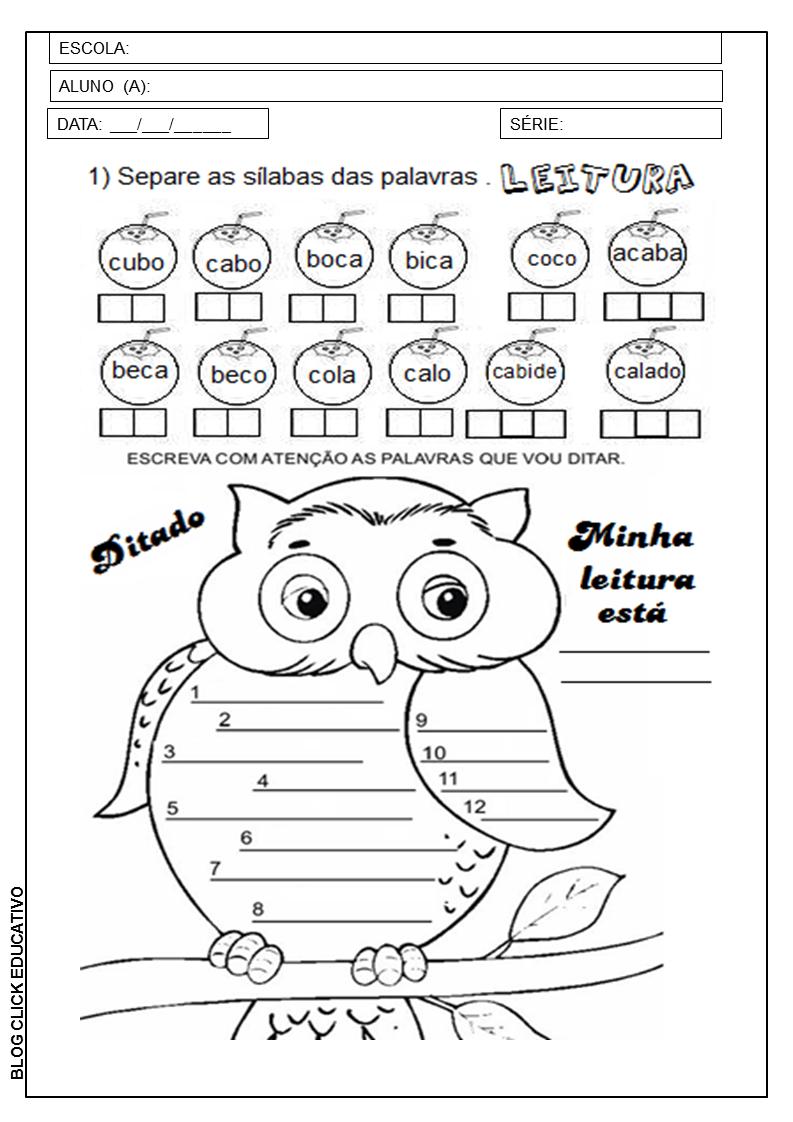 1º Ano Atividades De Leitura E Ditado Para Imprimir Clicks