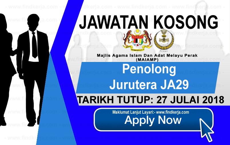 Jawatan Kerja Kosong MAIAMP - Majlis Agama Islam dan Adat Melayu Perak logo www.ohjob.info www.findkerja.com julai 2018