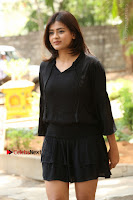 Actress Hebah Patel Stills in Black Mini Dress at Angel Movie Teaser Launch  0012.JPG