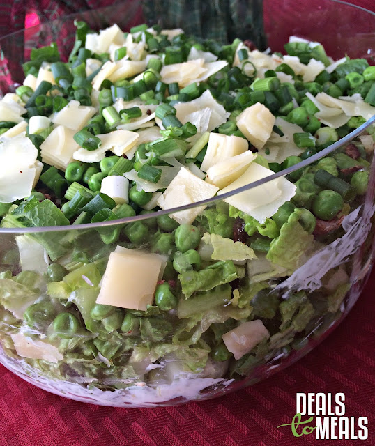 Recipe:  Salad, Recipe:  Healthy, summer recipe, side salad, layered garden salad with bacon, swiss and peas, Deals to Meals, Sarah's Salad