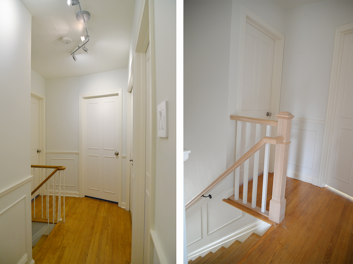 gmano railing, updated traditional wood railing, stair rail before and after