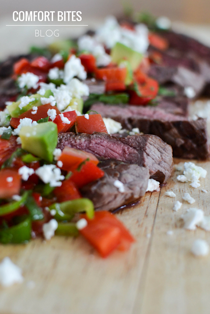 Brazilian Picanha Steak with Red Pepper Salsa and Feta Paleo