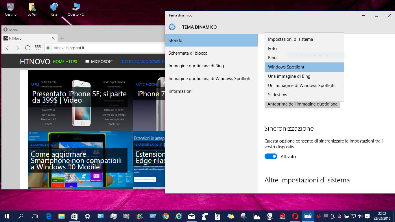Tema dinamico per Sfondo e Schermata di blocco su Pc e Smartphone Windows 10 2