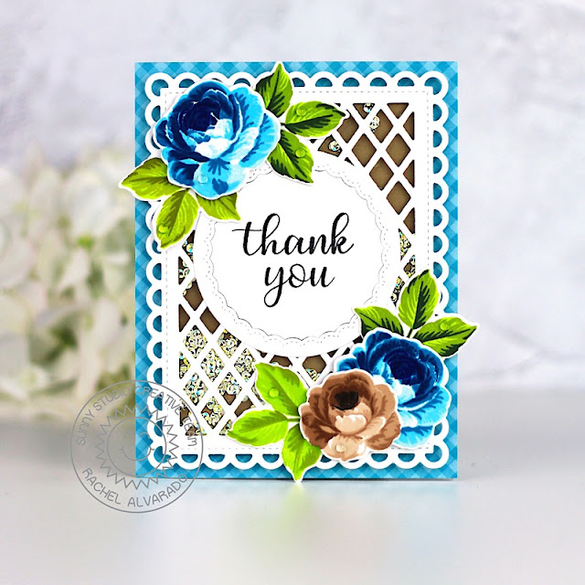 Sunny Studio Stamps: Everything's Rosy Fancy Frames Frilly Frames Thank You Card by Rachel Alvarado