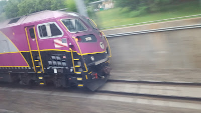 Another MBTA commuter rail train on the way into Boston