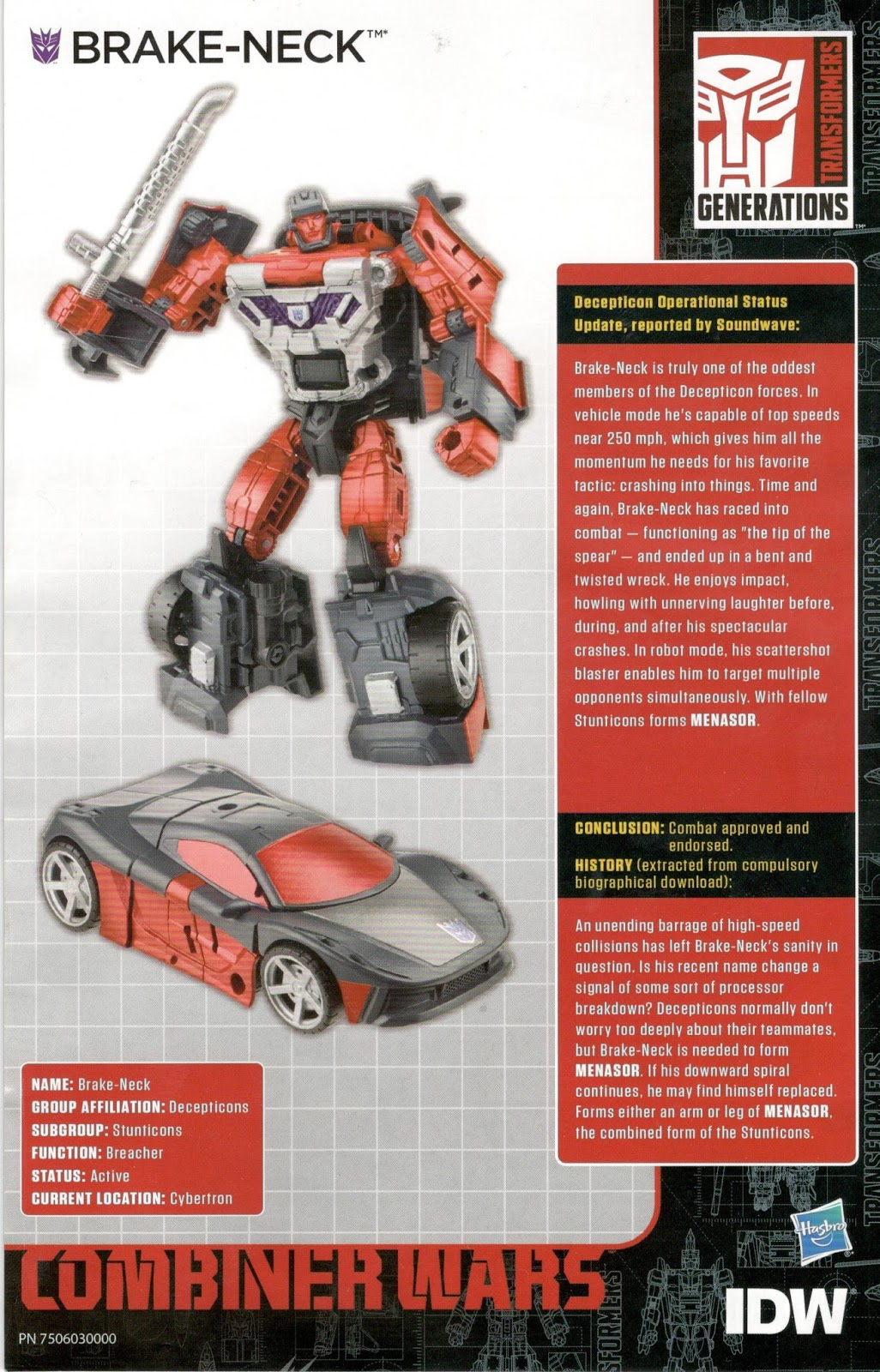 The Smallest Car In The World >> Transformers Bio Card Database: IDW Combiner Wars Bios
