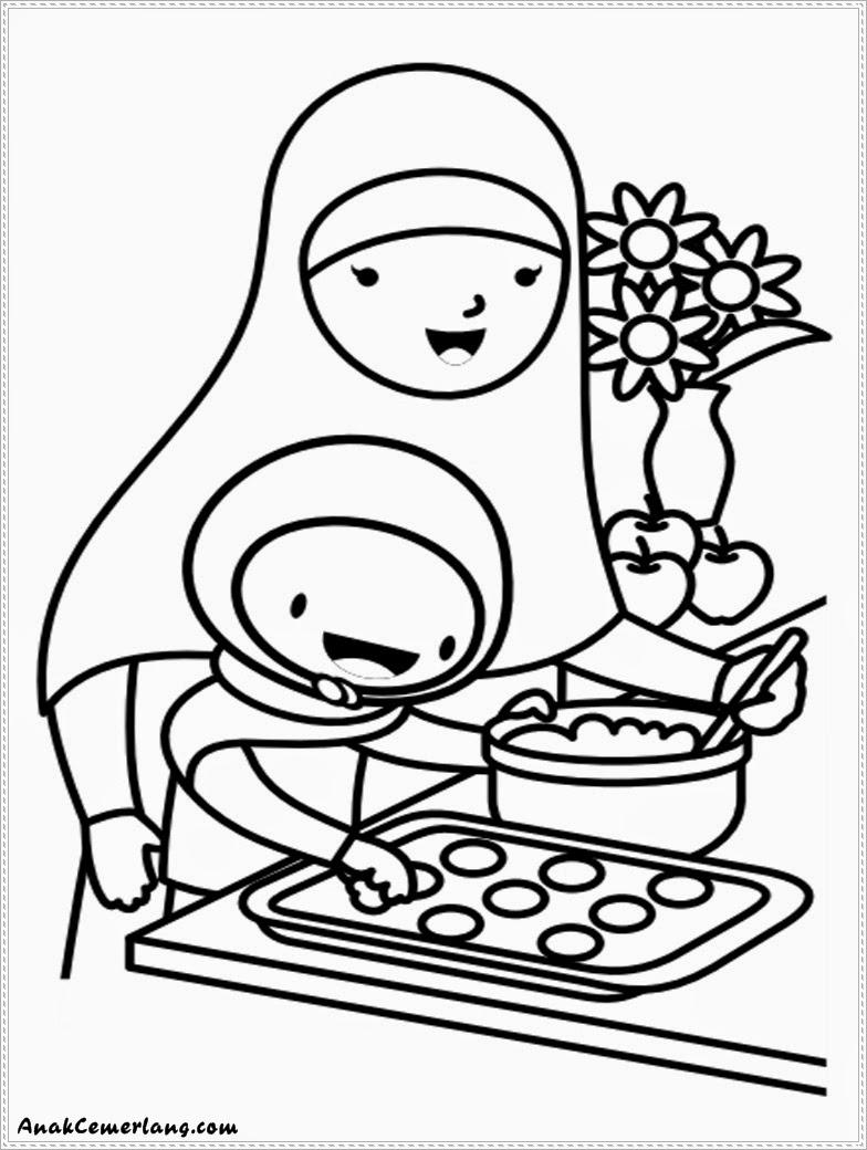 Gambar Mewarnai Anak Cemerlang Membantu Ibu Membuat Kue