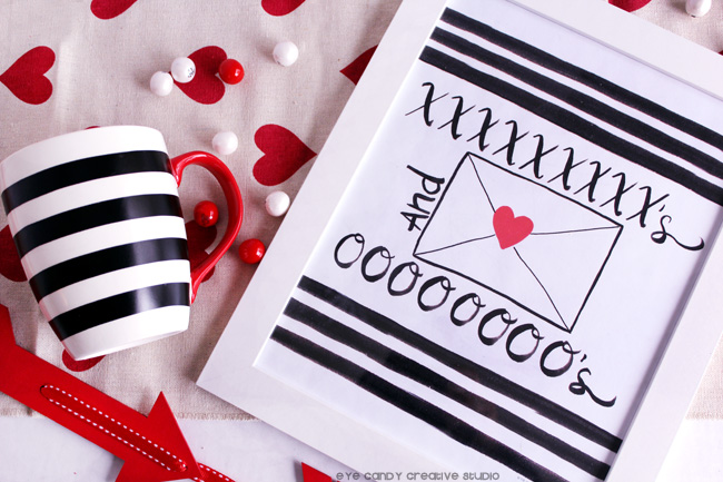 black & white stripe, Xs and Os, XO, valentines day, red hearts