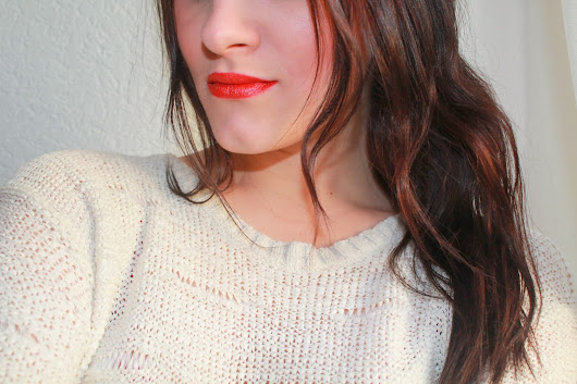 red lips on the colder day in winter